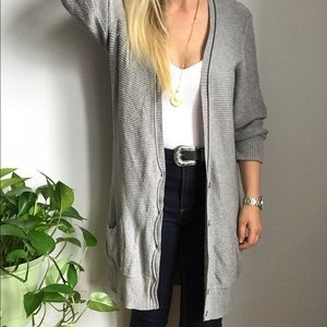 American Eagle Outfitters Gray Cardigan Sweater L